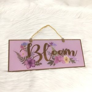 Bloom floral gold wall hanging picture  pink
